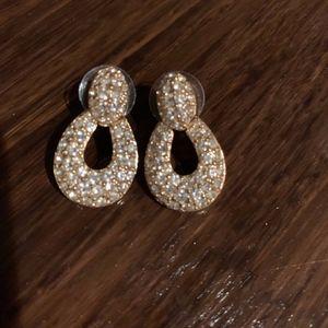 Drop Earrings - Gold w/Rhinestones - 2 Pair